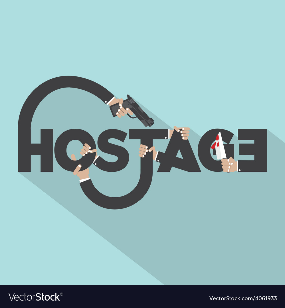 Gun and knife in hands with hostage typography vector