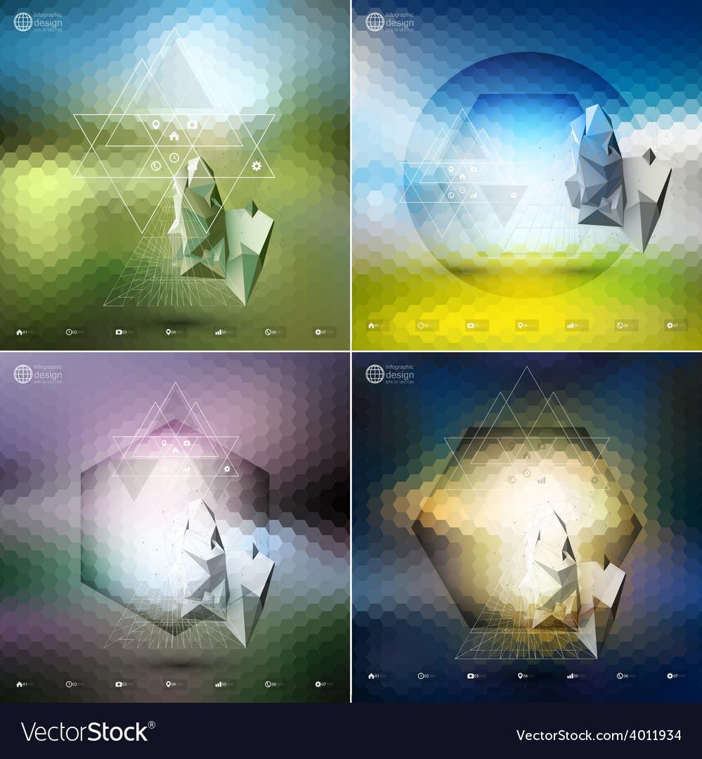 Abstract 3d pyramids abstract hexagonal patterns vector