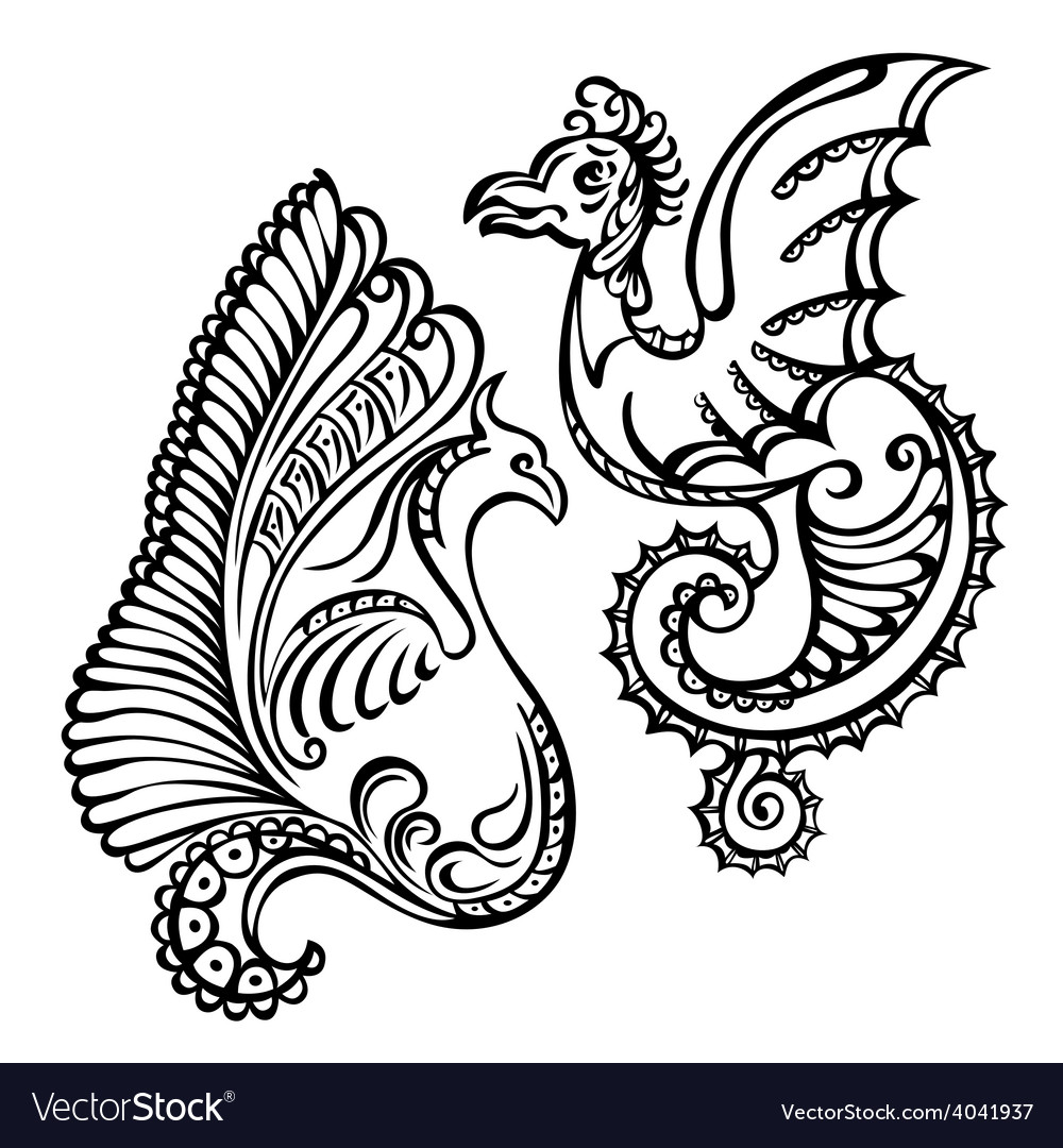 Fantasy abstract dragon vector