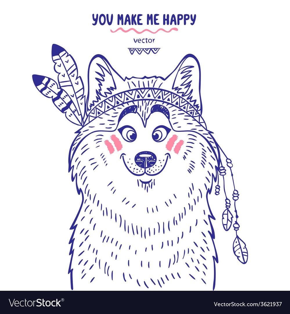 Husky cute vector