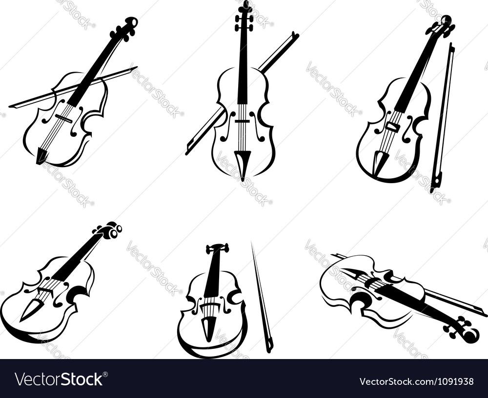 Classical violins instruments vector