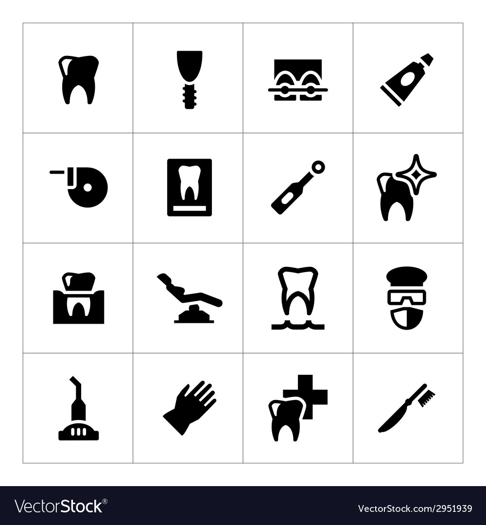 Set icons of dental vector