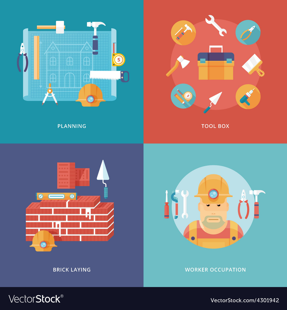Construction and building icons set vector