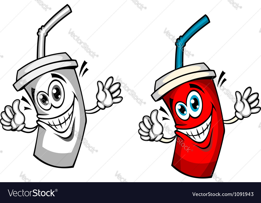 Fresh soda drink with straw vector