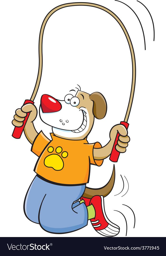 Cartoon dog jumping rope vector