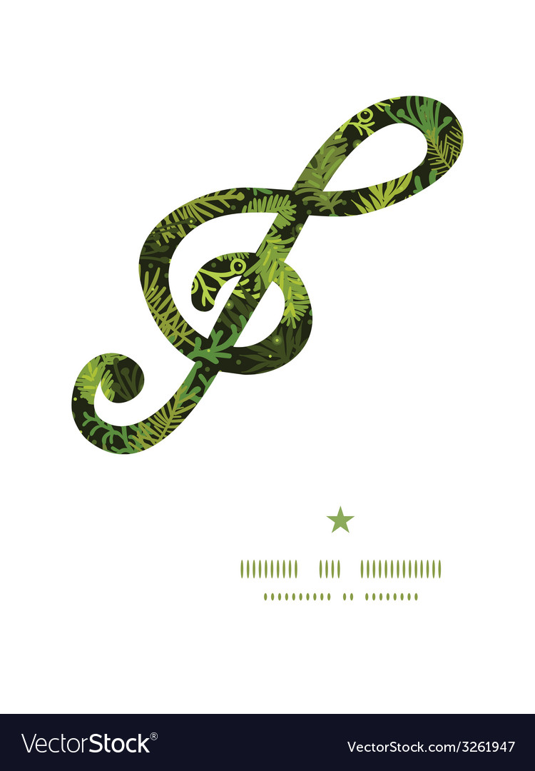 Evergreen christmas tree g clef musical silhouette vector