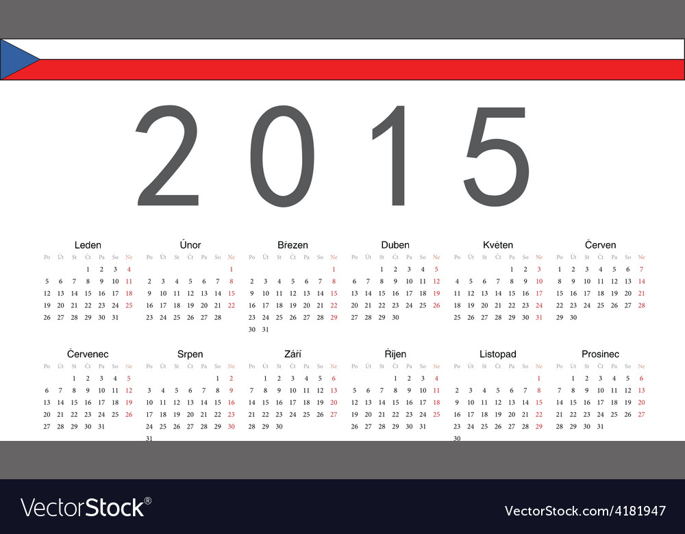 Rectangle czech 2015 year calendar vector