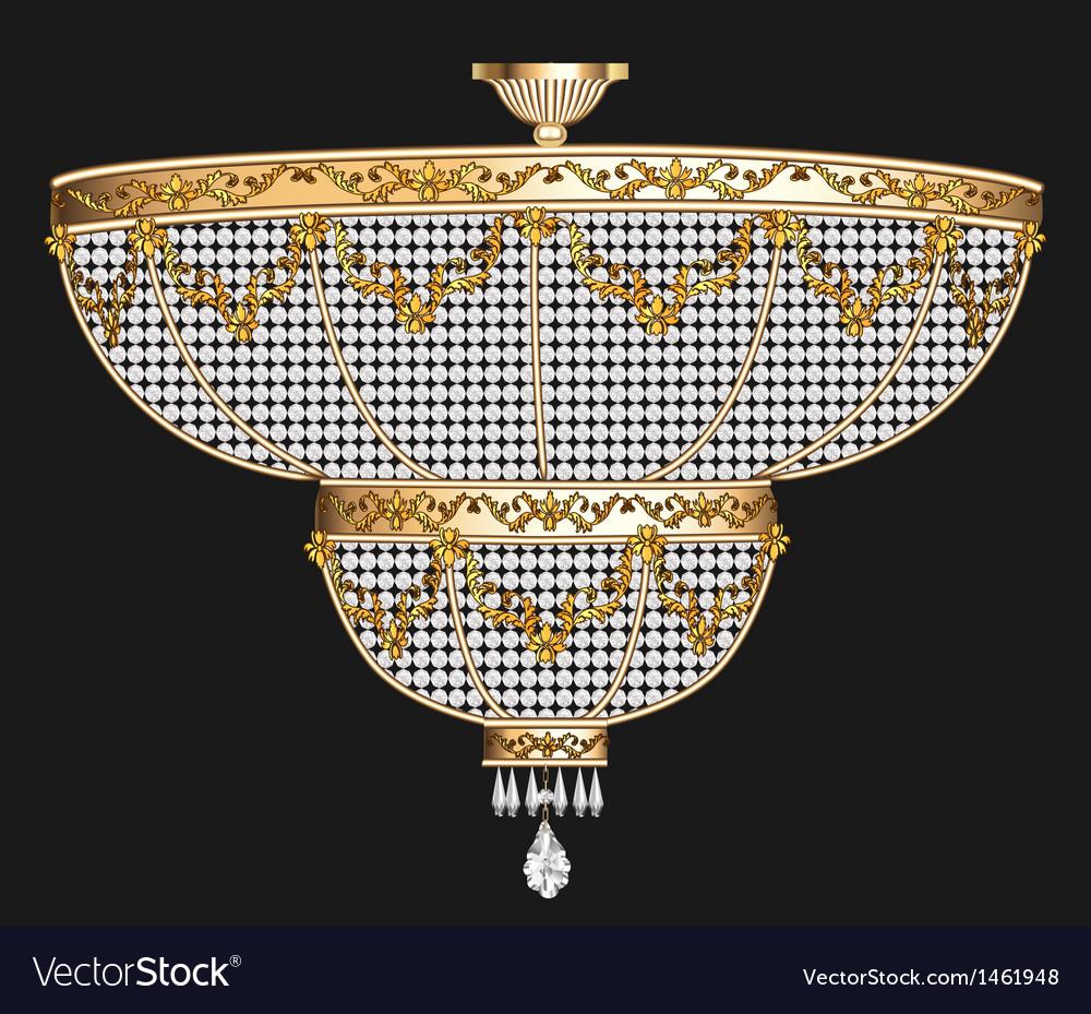 Antique chandelier with crystal pendants vector