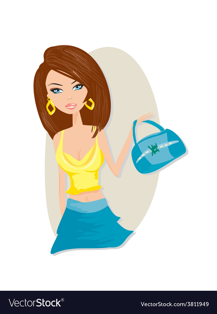 Cute girl with bag vector