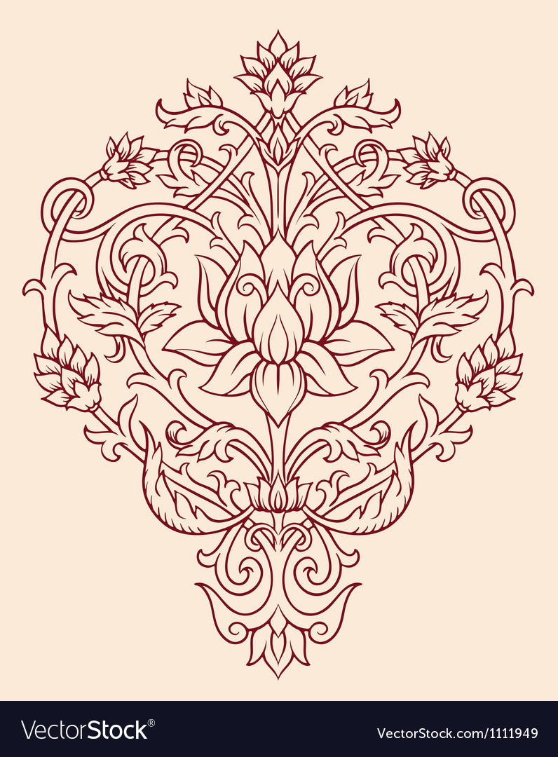 Ornage lotus flower vector