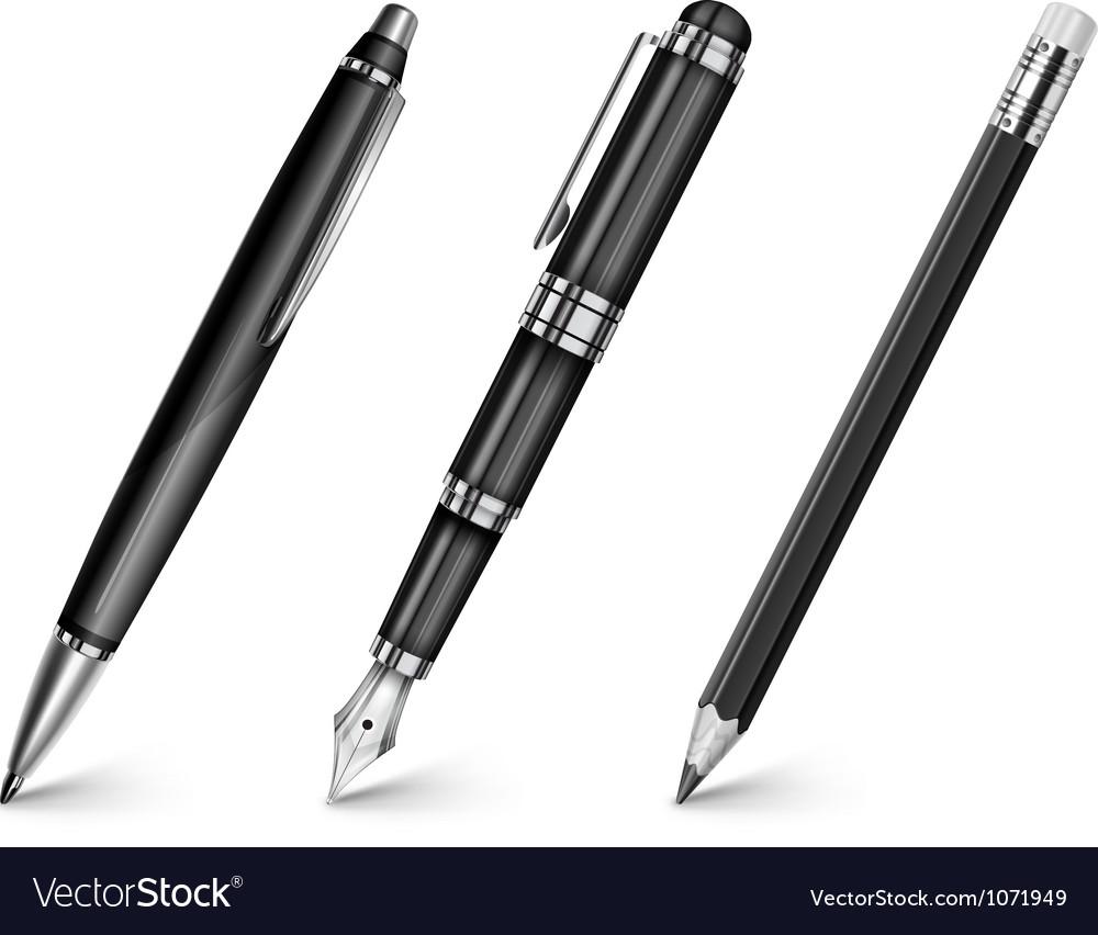Pencil pen fountain pen vector