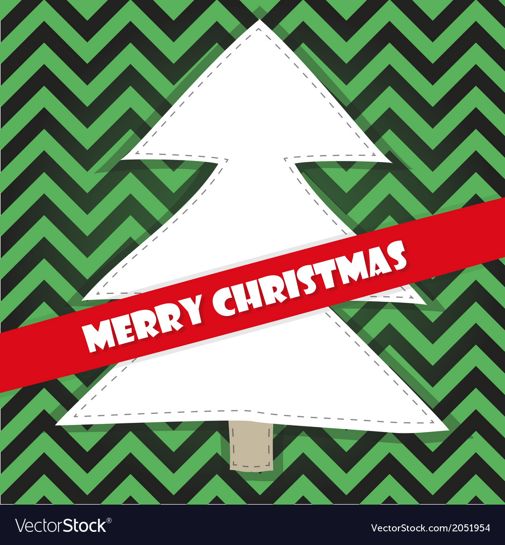 Christmas tree on a green stripped background vector