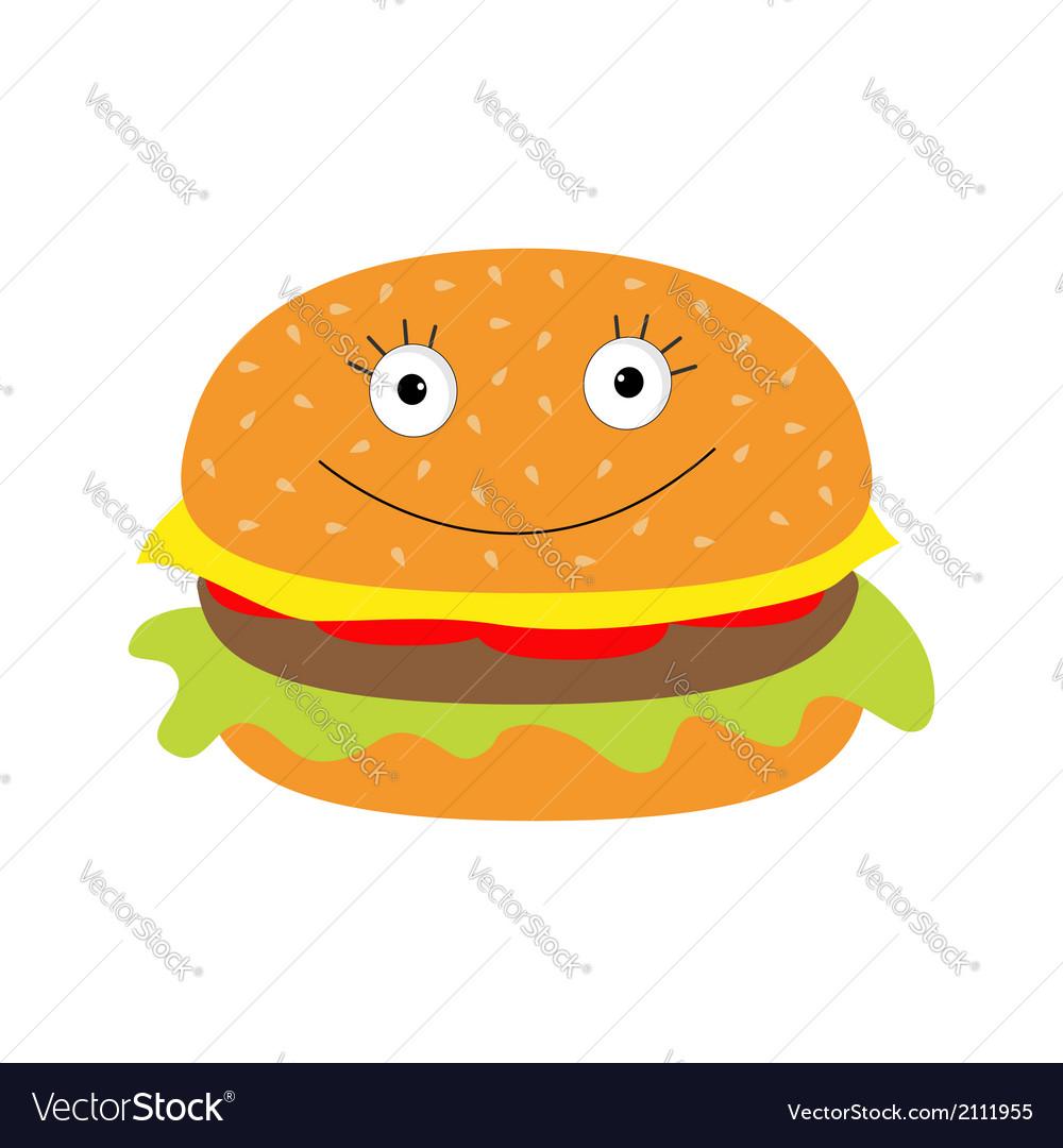 Funny cartoon hamburger icon with happy face vector