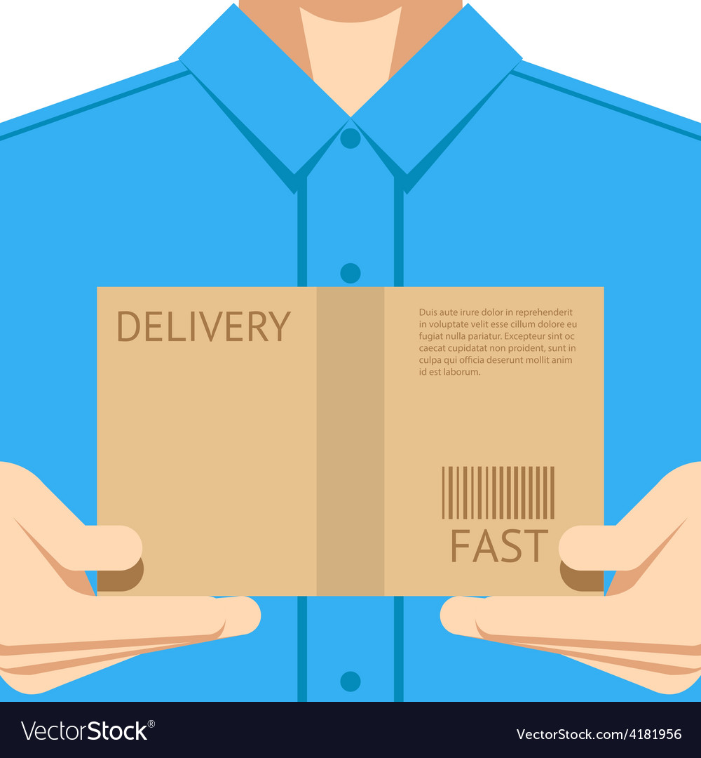 Delivery courier postal man delivering package vector