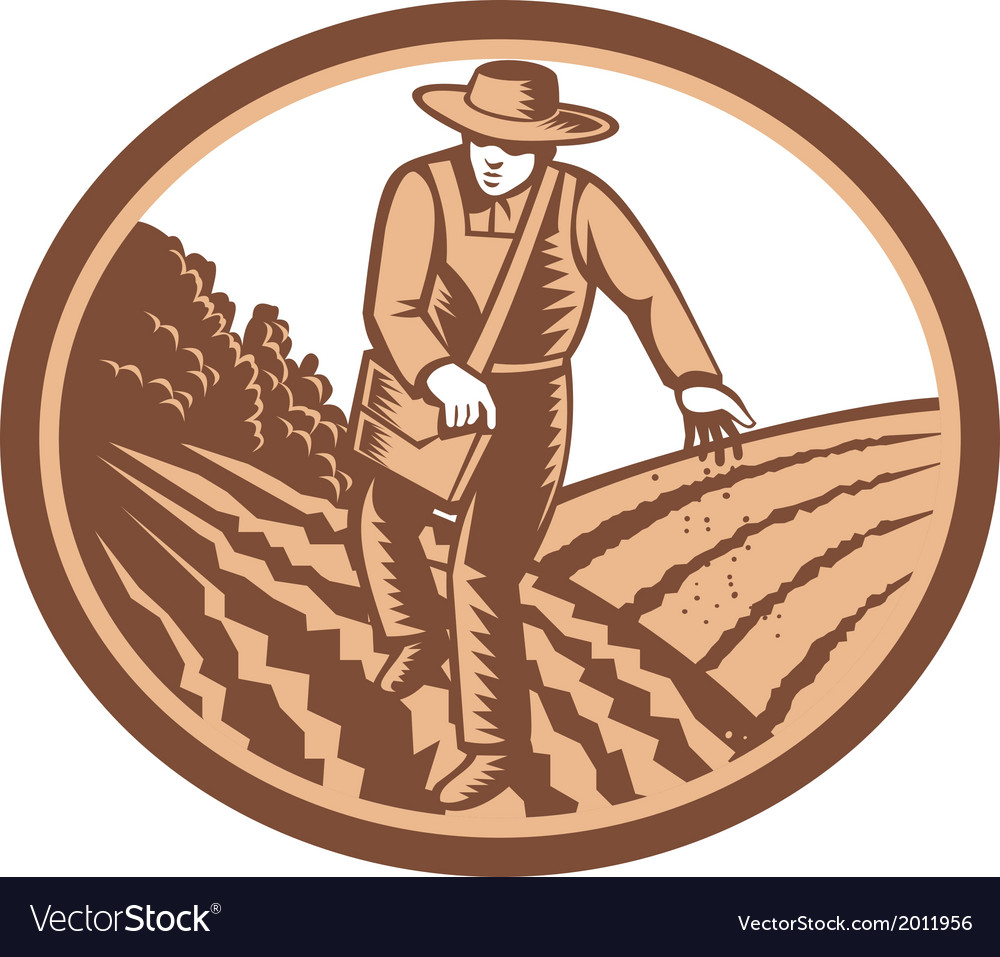 Organic farmer sowing seed woodcut retro vector