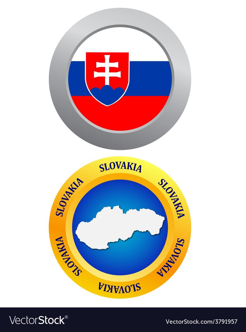 Button as a symbol slovakia vector