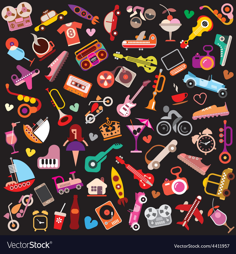 Objects on black vector