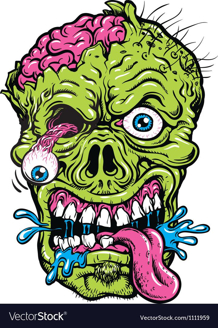 Detailed zombie head vector