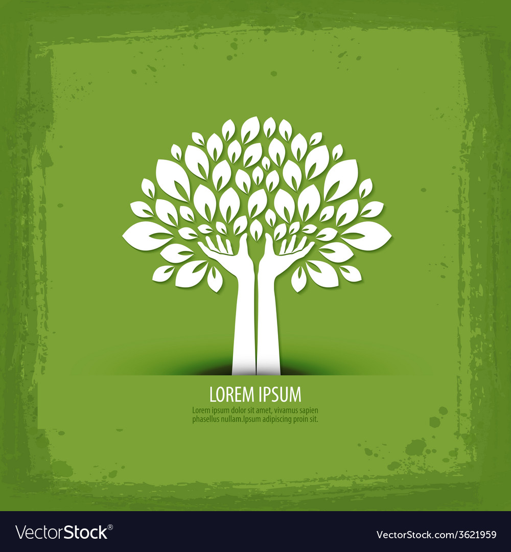 Hands and tree logo icon sign emblem template vector