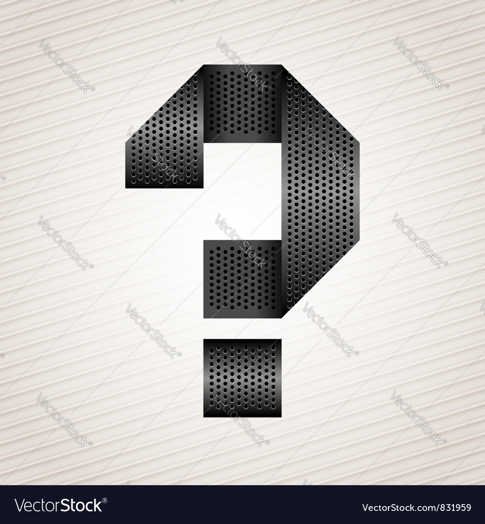 Letter metal ribbon - question mark vector