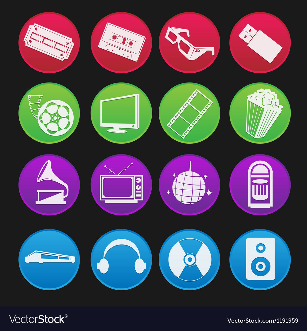 Movie and music entertainment icon gradient style vector