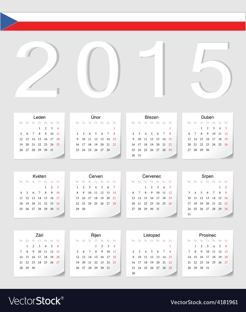 Czech 2015 calendar with shadow angles vector