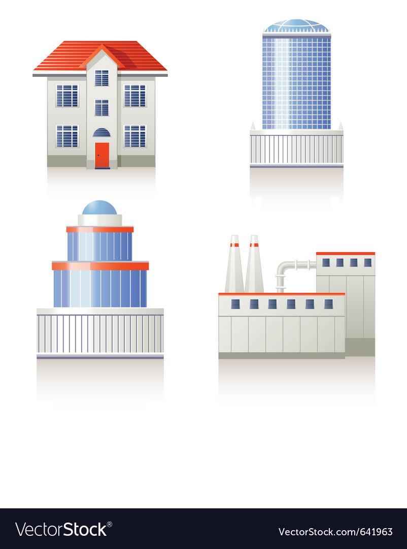 Building icon set vector