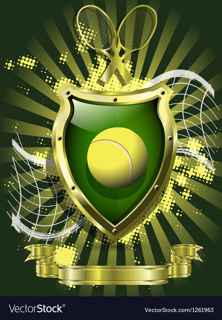 Tennis ball on background of the shield vector