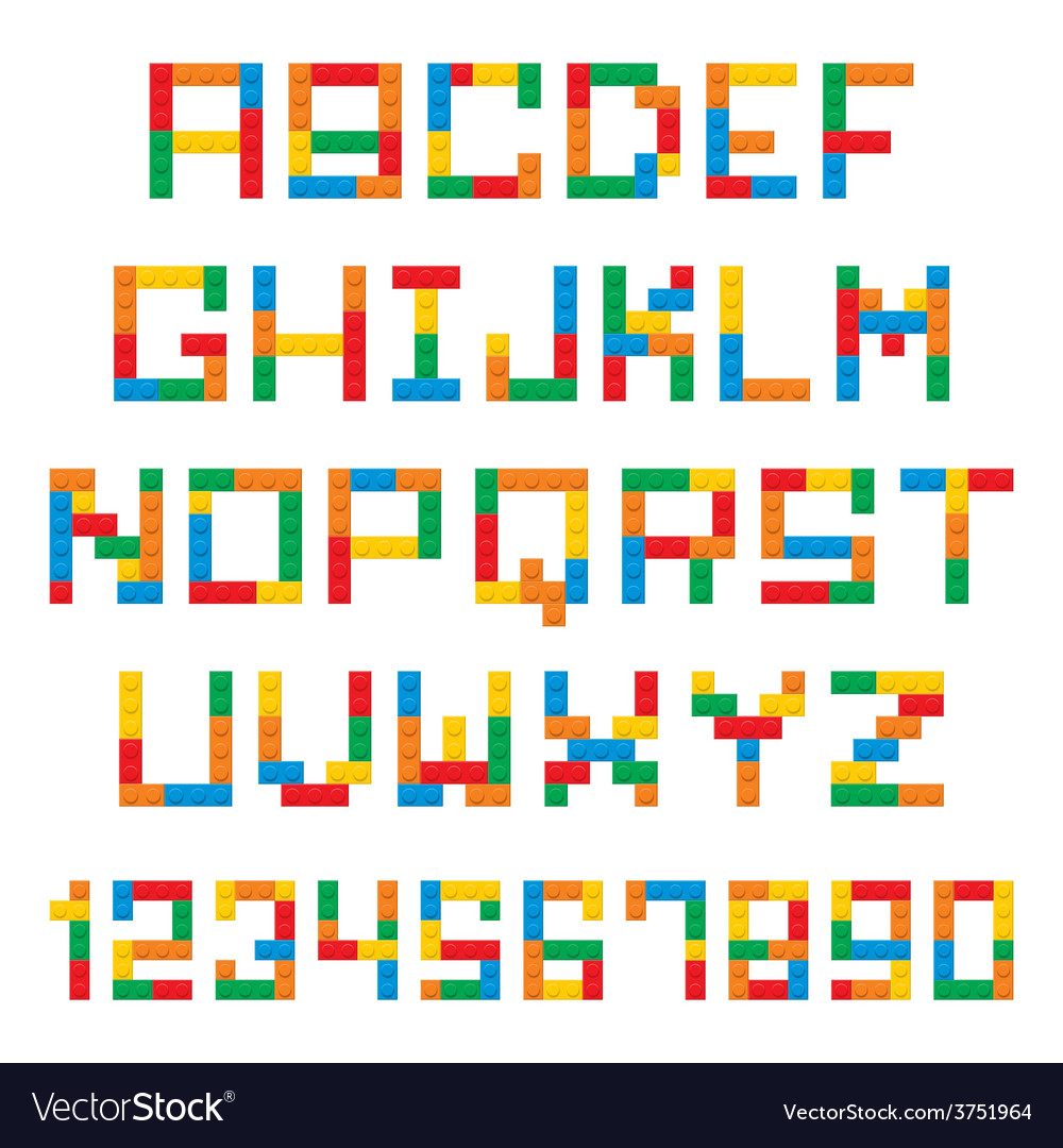 Plastic construction blocks alphabet vector