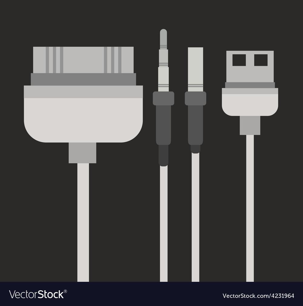 Plug and usb design vector
