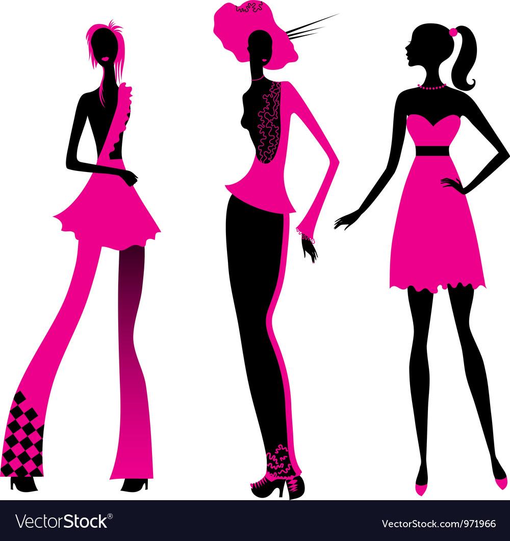 Three fashion girls vector