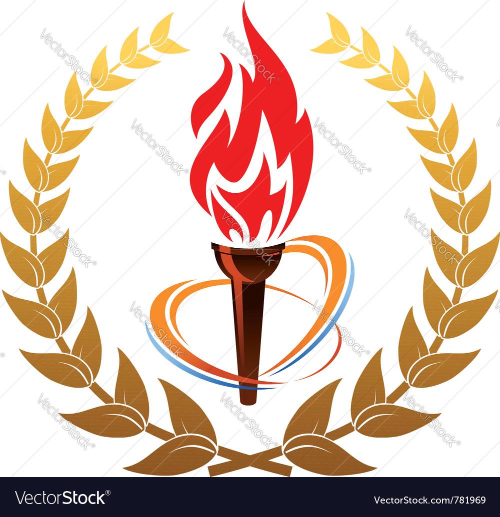 Flaming torch in laurel wreath vector