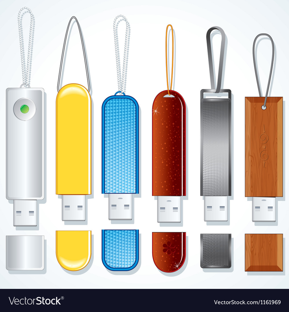 Usb drives set of various flash sticks clip art vector