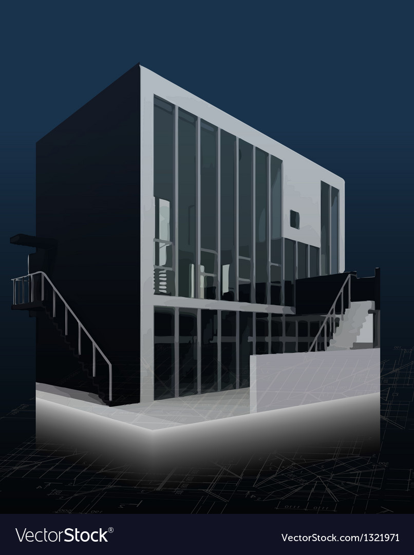 Architecture model house with blueprints vector