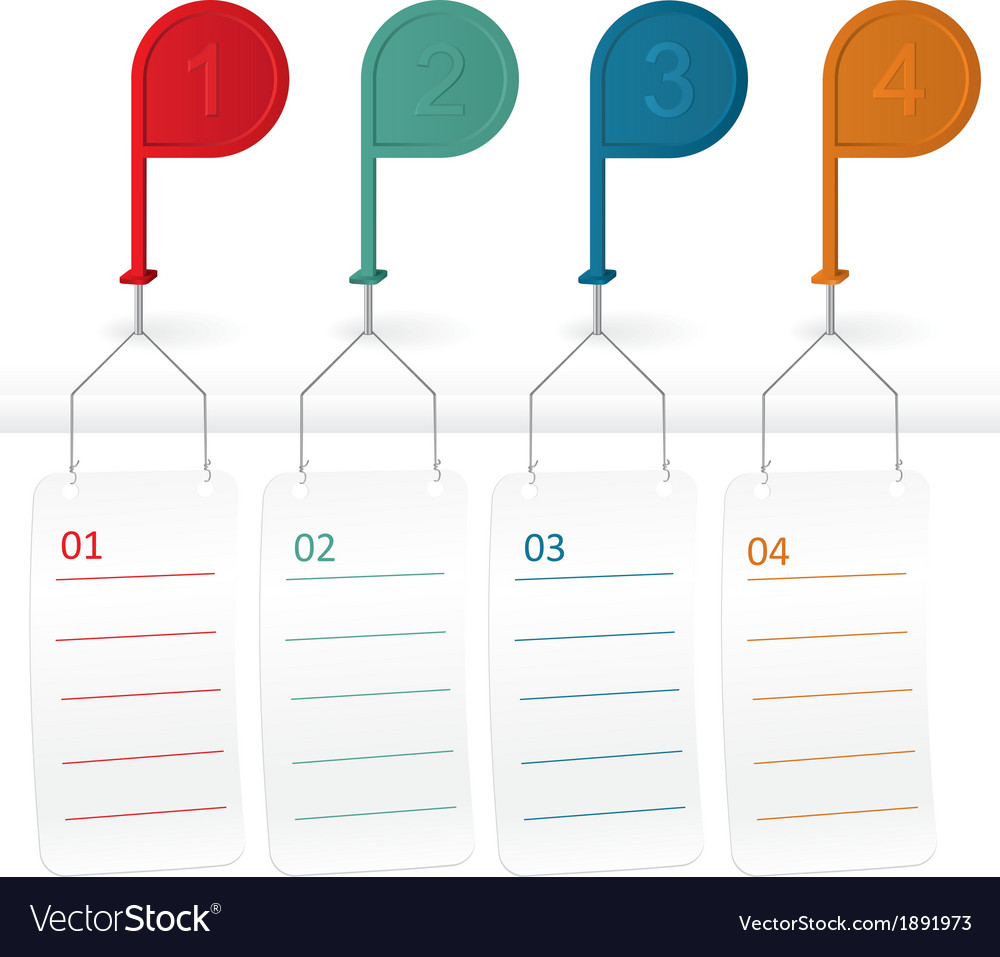Pin pointer with stickers different colors vector
