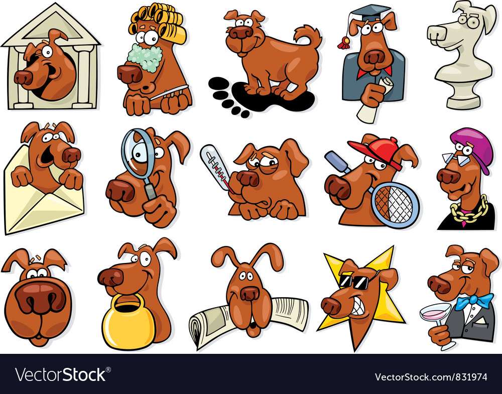 Cartoon dogs set vector