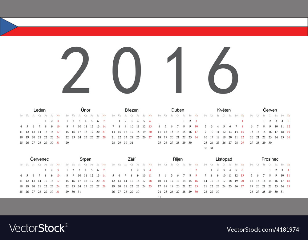Rectangle czech 2016 year calendar vector
