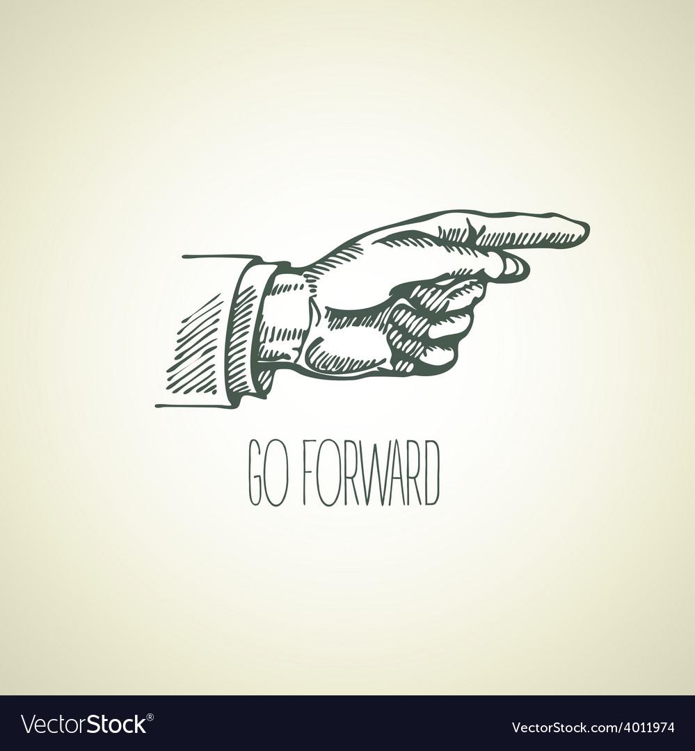 Vintage hand-drawn sign pointer hand vector