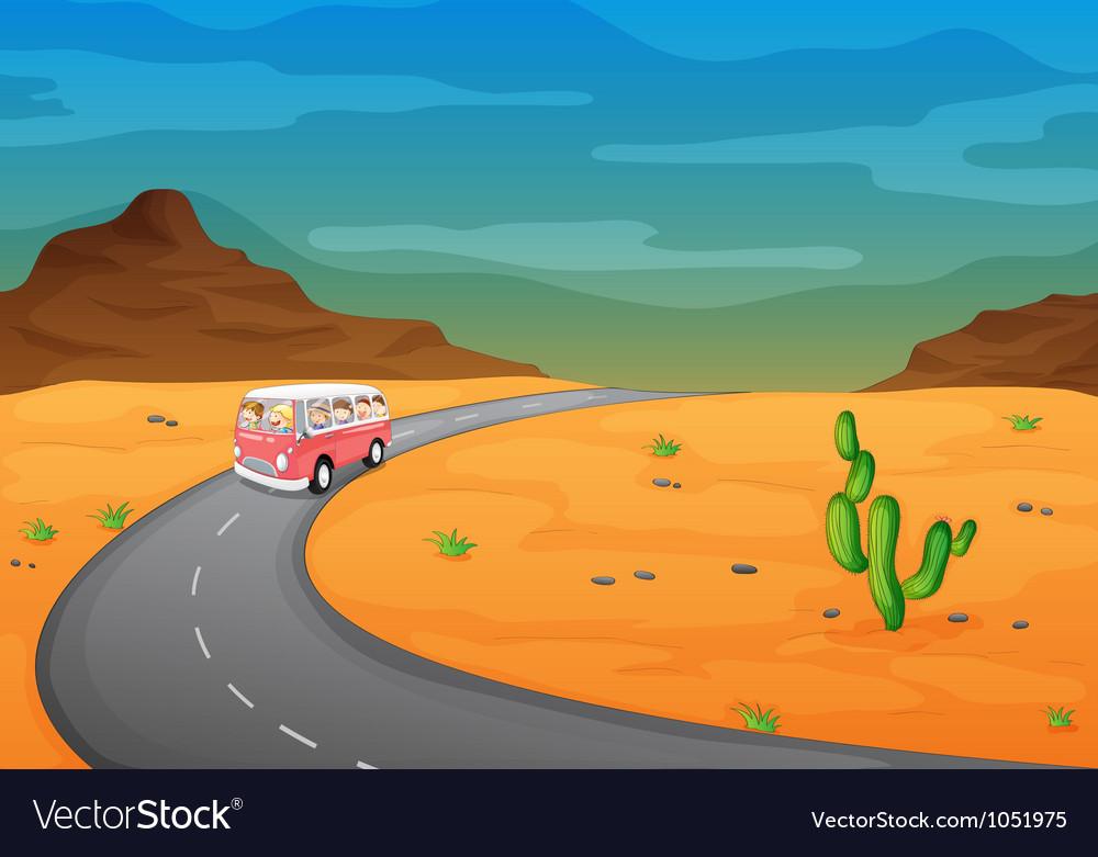 Desert road journey vector