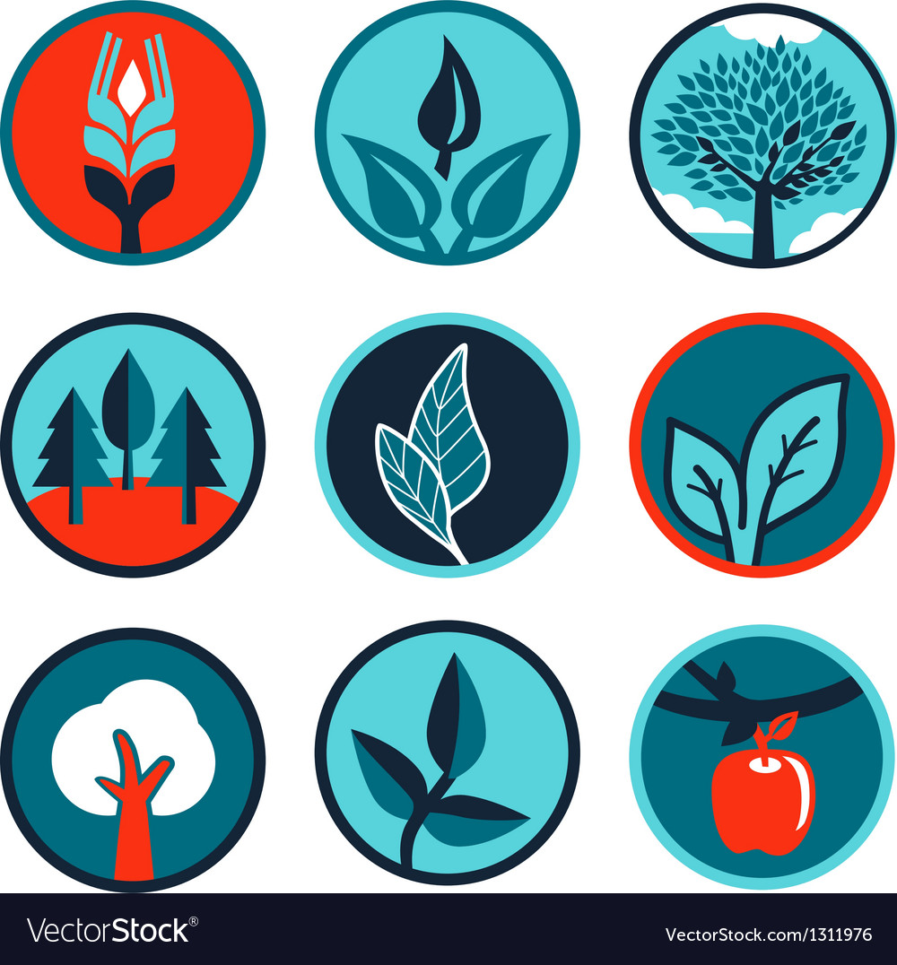 Emblems and signs with leaves and trees vector
