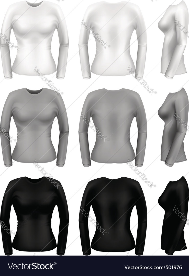 Women long sleeve t-shirt vector