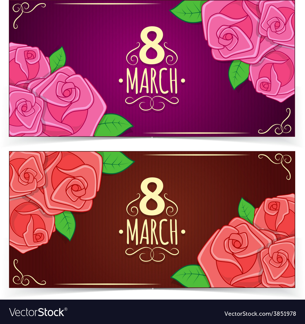 Banners for women day vector