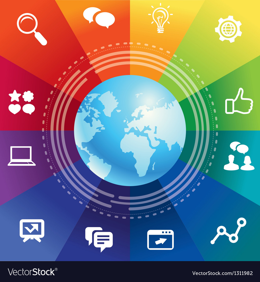 Internet concept with rainbow background vector