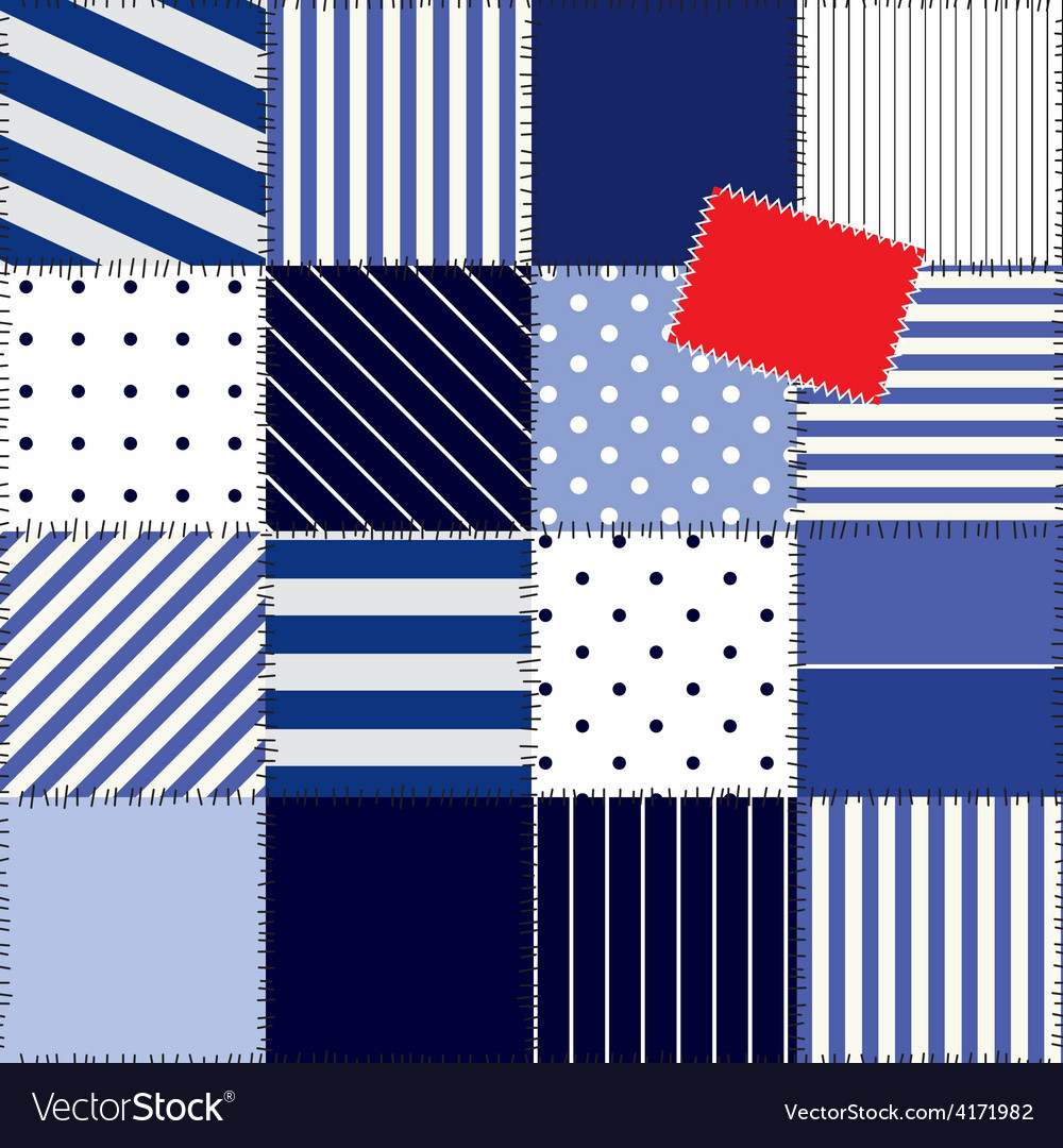 Patchwork pattern in nautical style vector