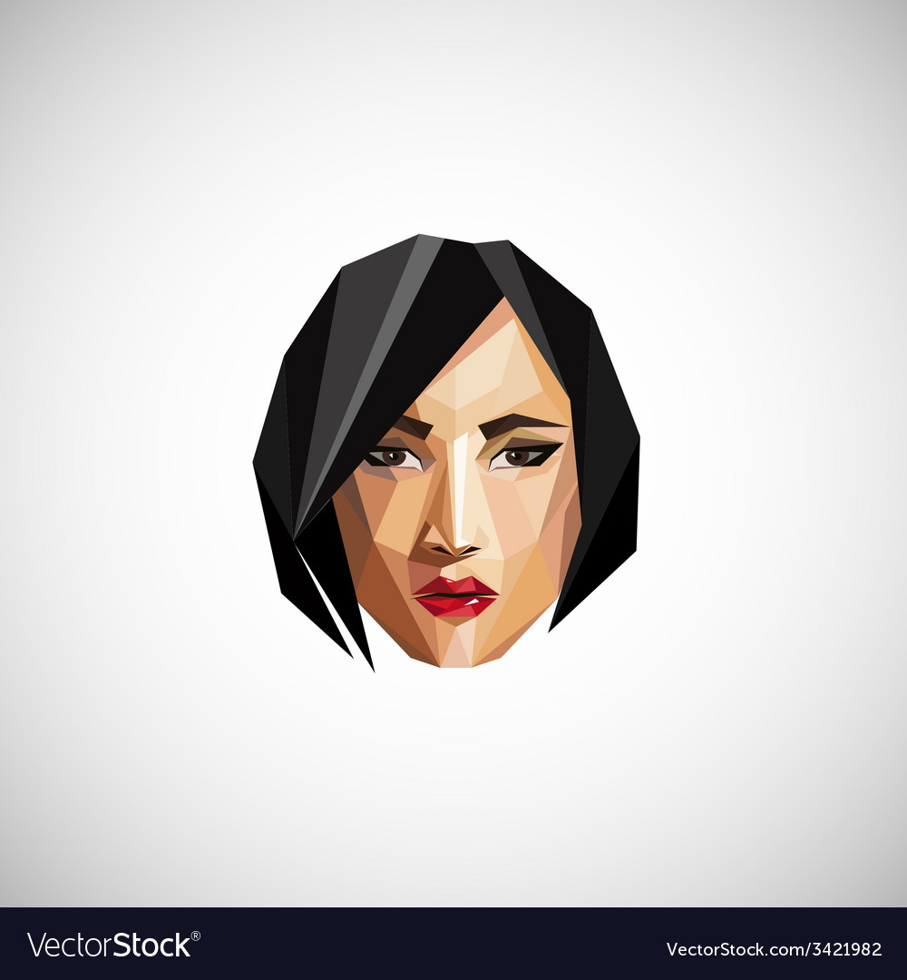 With a female face in origami style vector