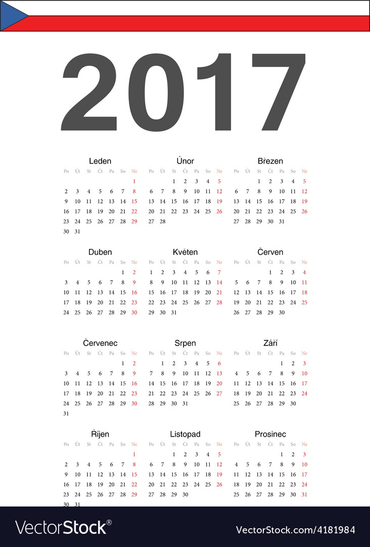 Simple czech 2017 year calendar vector