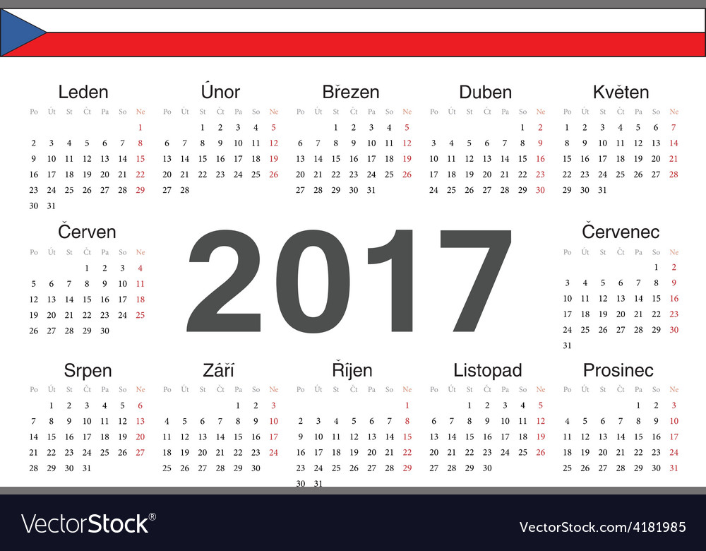 Circle czech 2017 year calendar vector