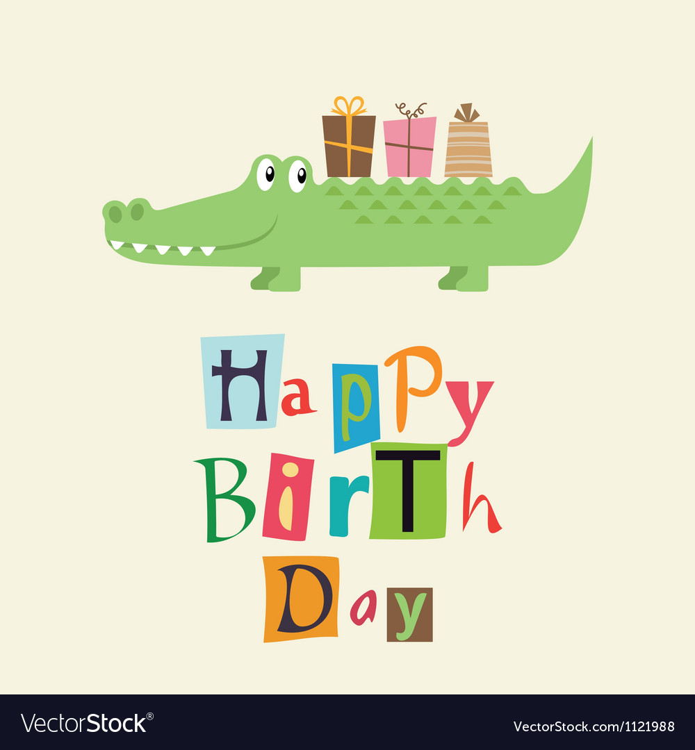 Happy birthday card with fun crocodile vector