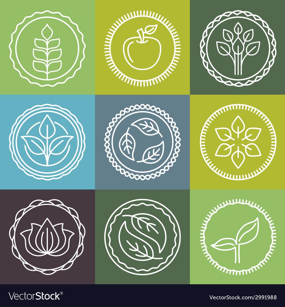 Organic logo outline set vector
