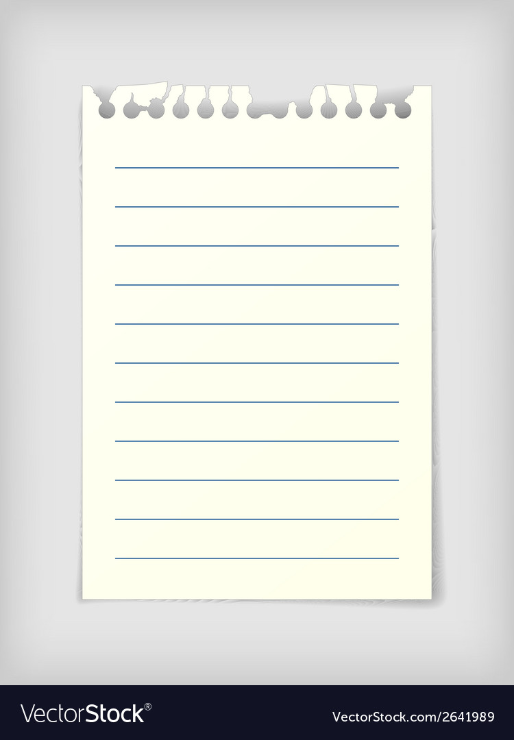 Lined note paper sheet vector